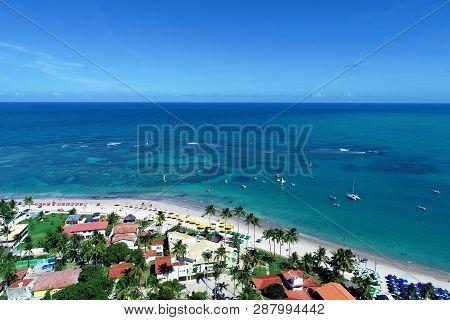 Aerial View Of Porto De Galinhas Beach, Pernambuco, Brazil: Vacation On The Paradisiac Beach With Fa