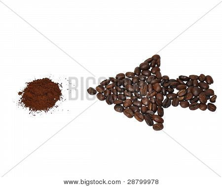 Coffee beans - ground coffee