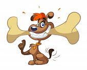 a cute cartoon os a Dog With Big Bone poster