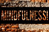 Word writing text Mindfulness. Business concept for Being Conscious Awareness Calm Accept thoughts and feelings Brick Wall art like Graffiti motivational call written on the wall. poster