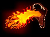 Dragon mouth with the fire on black background poster