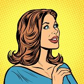 beautiful woman in profile. Pop art retro vector illustration drawing kitsch vintage poster