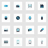 Device icons colored set with mic, smartphone, joystick and other webcam elements. Isolated vector illustration device icons. poster