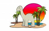 An illustration of cute dinosaur with sun set background poster