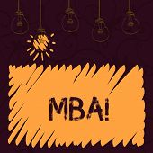 Word writing text Mba. Business concept for Master of Business Administration Advance Degree After College Studies. poster