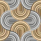 Crazy curves - tangled geometric pattern with golden and silver platinum colors. Multicolor curvy lines. Abstract geo geometric technology background. Luxury background. poster