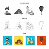 Vector illustration of evolution  and prehistory sign. Set of evolution  and development  stock vector illustration. poster