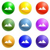 Hight political target icons vector 9 color set isolated on white background for any web design poster