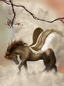brown pegasus in the sky with branches poster