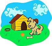 Dog sits near kennel, ball and bone poster