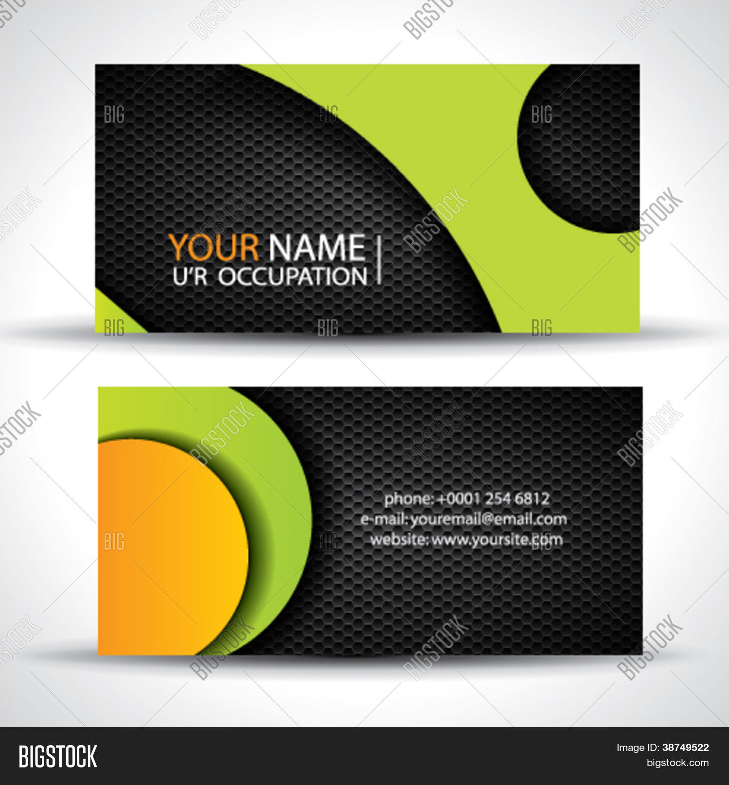 Modern vector vector photo free trial bigstock modern vector business card green orange and black colors reheart Images