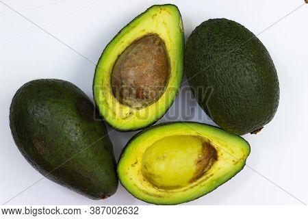 Avocado On A White Background. Avocado Macro. Close Up Of An Avacado. Avocado Isolated On White Back