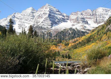 Snow Covered Maroon Bells Near Aspen, Colorado