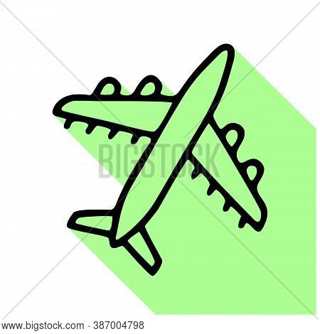 Airplane Flat Line Icon. Plane Vector Illustration. Thin Sign For Jet, Air Craft Cargo Shipping, Air