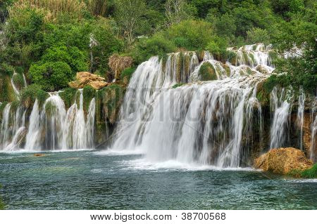 Krka river waterfalls in the Krka National Park, Roski Slap, Croatia