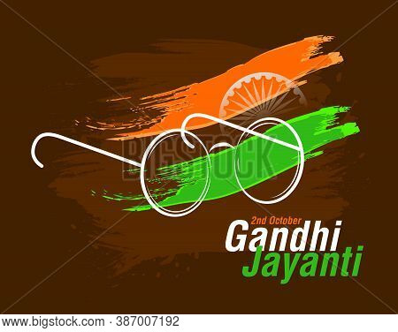Vector Illustration Of Gandhi Jayanti Celebration Concept, Isolated On Dark Brown Background. 2nd Oc