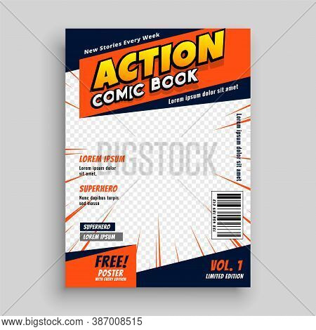 Action Comic Book Cover Page Template Vector Design Illustration