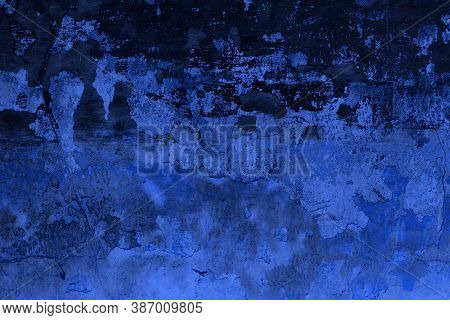 Beautiful Blue Brushed Concrete With Damaged Paint Texture - Abstract Photo Background