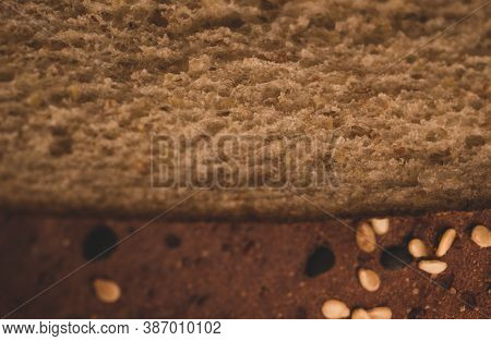Macro Close Up Of Wholemeal Bread Details, Selective Focus