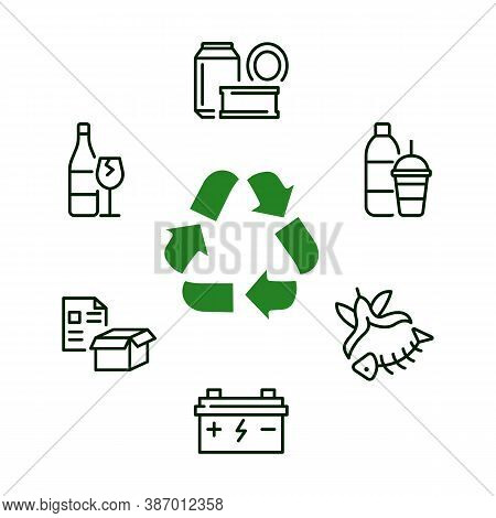 Recycling And Sorting Of Waste Circle Banner With Flat Line Icon. Garbage Sorting.
