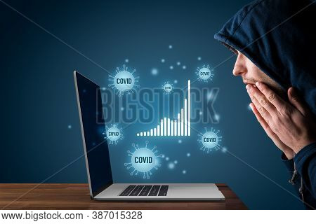 Fascinated Stressed Person Look On Covid-19 Stats And Reports. Shocked And Frightened Person Look On