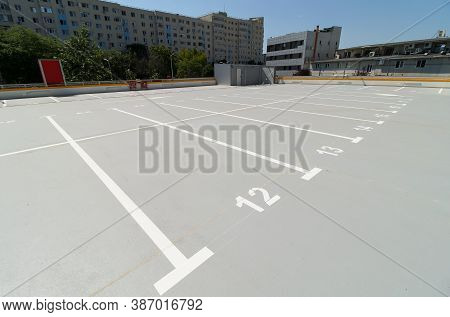 Bucharest, Romania - June 26, 2020 Parking Places On The Roof Of A Multi-storey Car Parking Inaugura