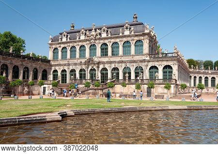 Dresden, Germany - July 26, 2019: Zwinger - Palatial Complex In Dresden. Sunny Summer Day.