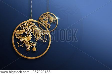 Gold Christmas Balls And Fir Tree Branches On Blue Background.  Abstract Luxury. Vector Illustration