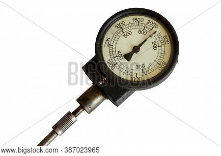 Large Vintage Dial Isolated On White Background. Round Analog Display With Arrow And Various Numbers