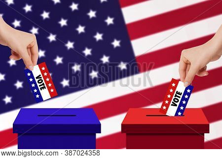 Us Elections Concept : Hand Holding And Putting Voting Paper Card In Ballot Voting Box With Usa Flag