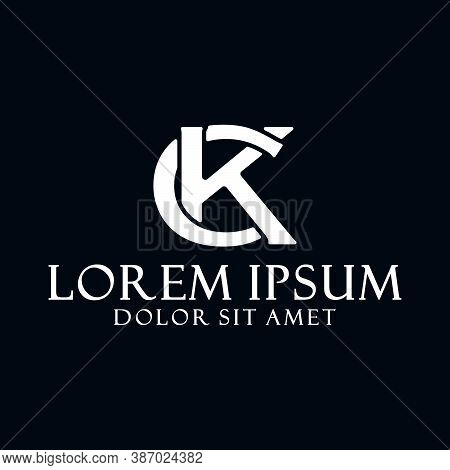 Initial Letter Ck Or Kc Logo Template With Serif Font Modern Icon In Flat Design Monogram Illustrati