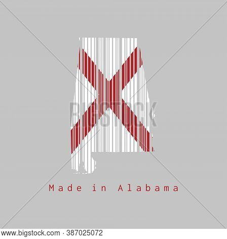 Barcode Set The Shape To Alabama Map Outline And The Color Of Alabama Flag On Grey Background, Text: