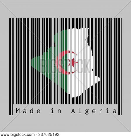 Barcode Set The Shape To Algeria Map Outline And The Color Of Algeria Flag On Black Barcode With Gre