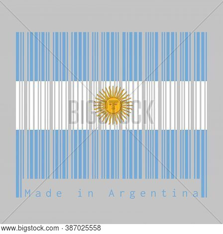 Barcode Set The Color Of Argentina Flag, Blue And White With Sun Of May On Black Background With Tex