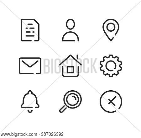 Basic Line Icons Set. Modern Graphic Design Concepts, Black Stroke Linear Symbols, Simple Outline El