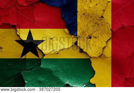 Flags Of Ghana And Chad Painted On Cracked Wall