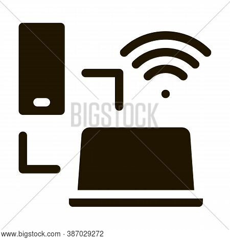 Smartphone And Laptop Wi-fi Connection Glyph Icon Vector. Smartphone And Laptop Wi-fi Connection Sig