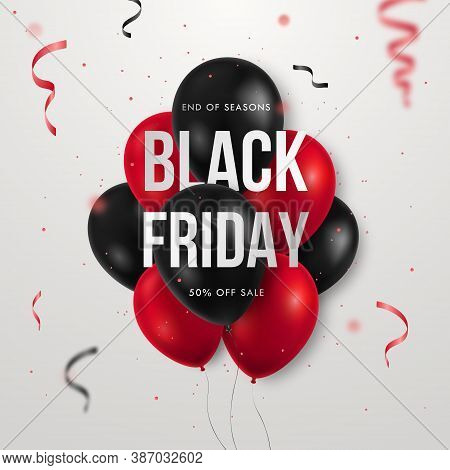 Black Friday Sale Banner With Shiny Balloons And Serpentine. Trendy Advertising Design For Social Me