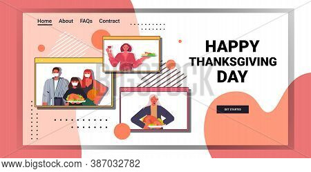 Happy Thanksgiving Day Multi Generation Family In Web Browser Windows Discussing During Video Call S