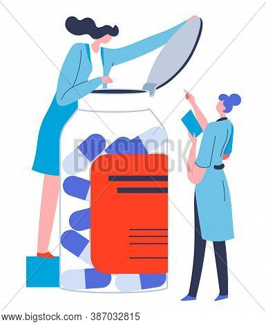 Pharmacology And Pharmaceuticals Industry, Nurses With Pills Vector