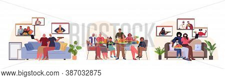 Set Mix Race People Celebrating Happy Thanksgiving Day Online Communication Self Isolation Coronavir