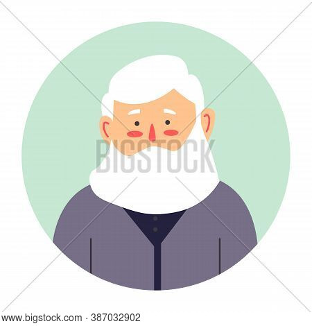 Grandfather Portrait, Senior Male Character With Beard Vector