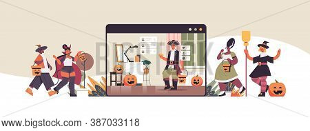 People In Different Costumes Discussing During Video Call Happy Halloween Holiday Celebration Self I