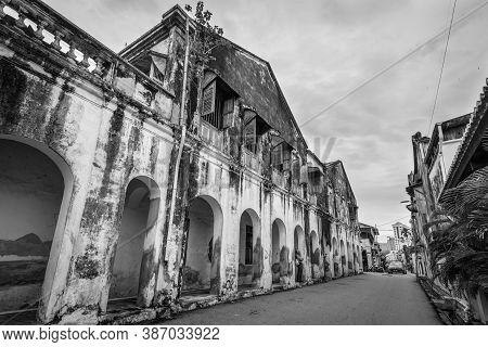 George Town, Penang, Malaysia - December 1, 2019: Heritage Houses In Georgetown Unesco Historic Heri