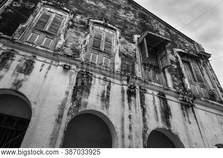 George Town, Penang, Malaysia - December 1, 2019: Detail Of A Heritage House In Georgetown Unesco Hi