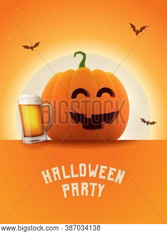 Drunk Pumpkin With Beer Mug. Halloween Party Poster. Shining Moon Orange Background. Vector All Sain