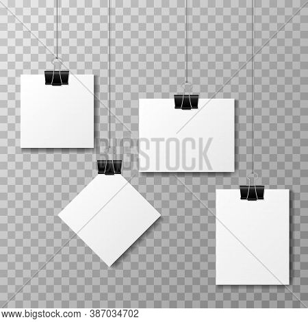 Set Of Binder Clips On A Piece Of Paper On A Transparent Background. Clerical Clothespin Vector Illu