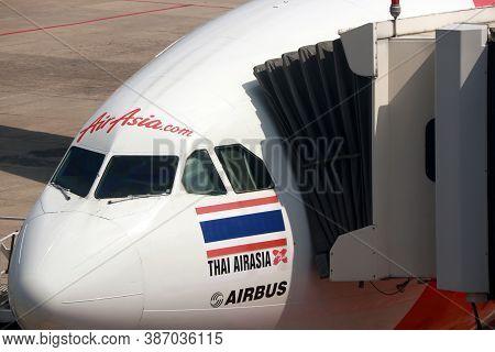 Don Muang, Bangkok, Thailand, November 16, 2017 : Closeup In Front Of The Plane Of Thai Airasia X, A