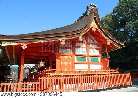 Fushimi-ku, Kyoto, Japan, November 17, 2017 : The Main Shrine Structure Was Built In 1499. At The Bo