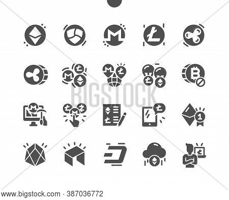Altcoin. Cryptocurrency Blockchain. Ethereum, Monero, Litecoin, Ripple Coin. Mining Cryptocurrency.